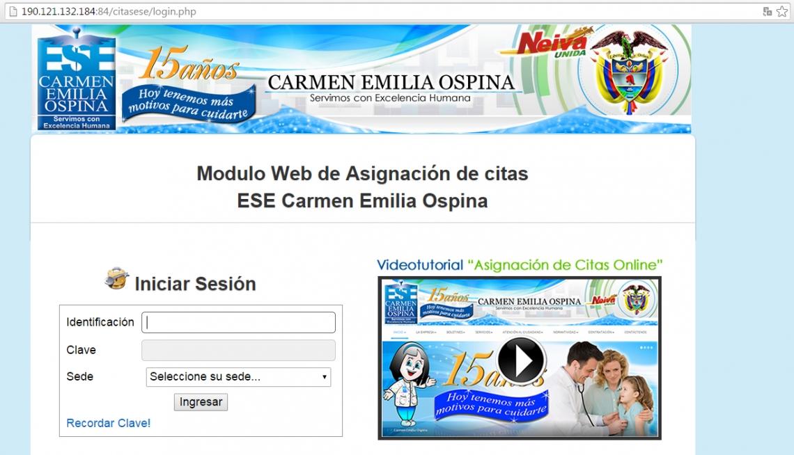 e4d2a7ef0f359 Módulo web de asignación de citas ESE Carmen Emilia Ospina