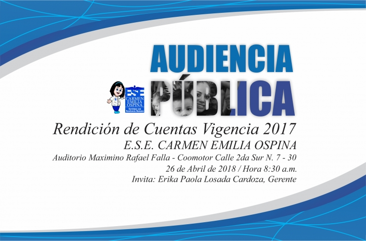ESE municipal rendirá cuentas sobre la Vigencia 2017